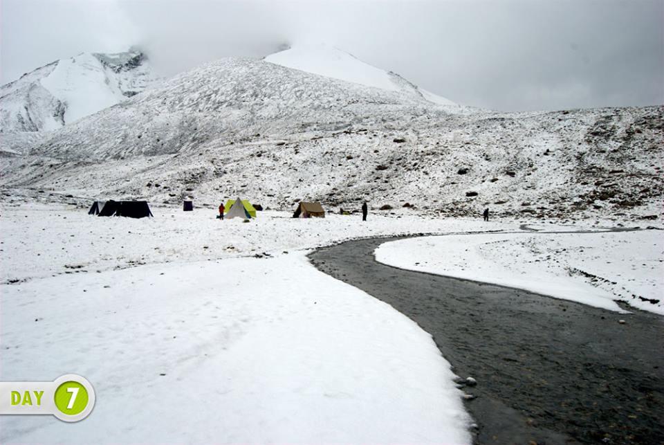 Kangyetse Base camp, it just snowed.