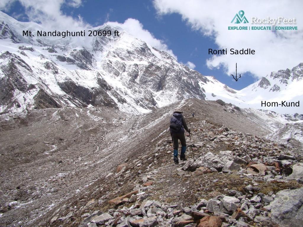 Plodding towards Ronti saddle through old moraine ridges. .