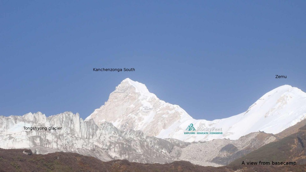 The massive wall of ice and rock defining the northern boundery of Dzongu