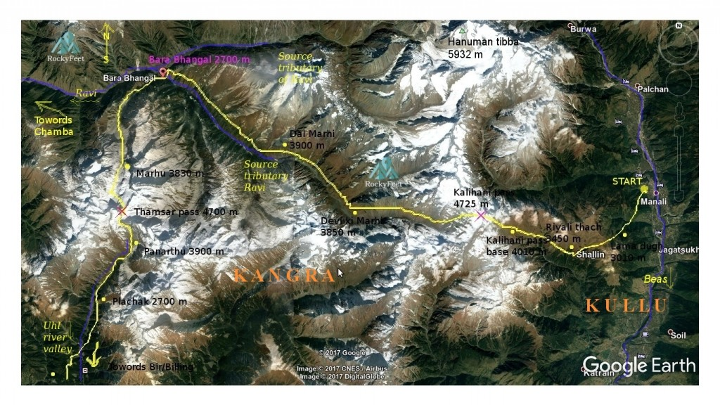 Bara Bhangal trek route map. Base map source: Google Earth