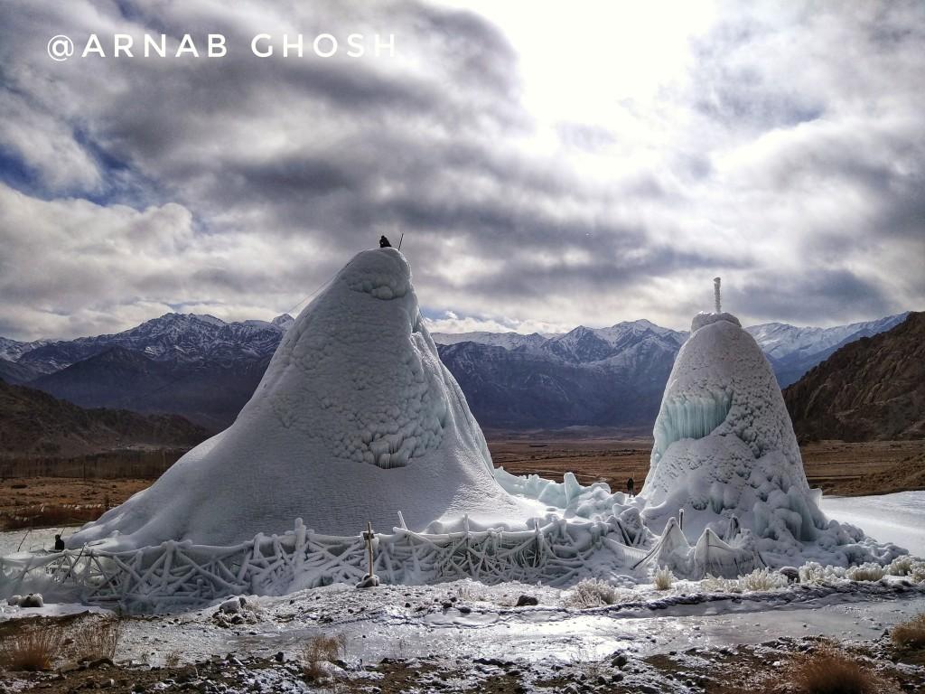 2 ice stupa ladakh phyang village Leh