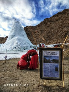 Ice stupa in front of