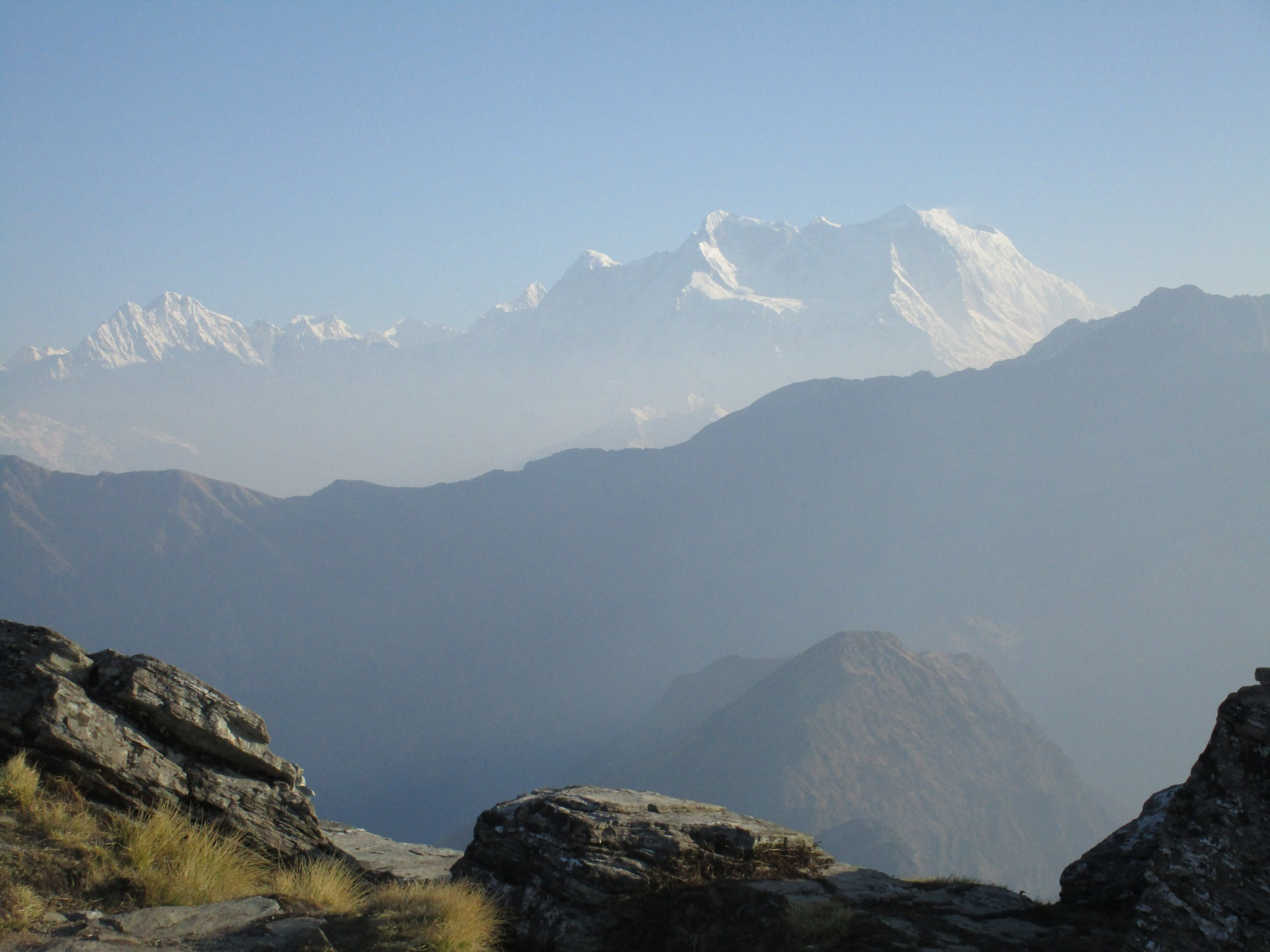 View from Chandrashila top :  massif of Mt Chaukhamba 1,2,3,4 (to the right)