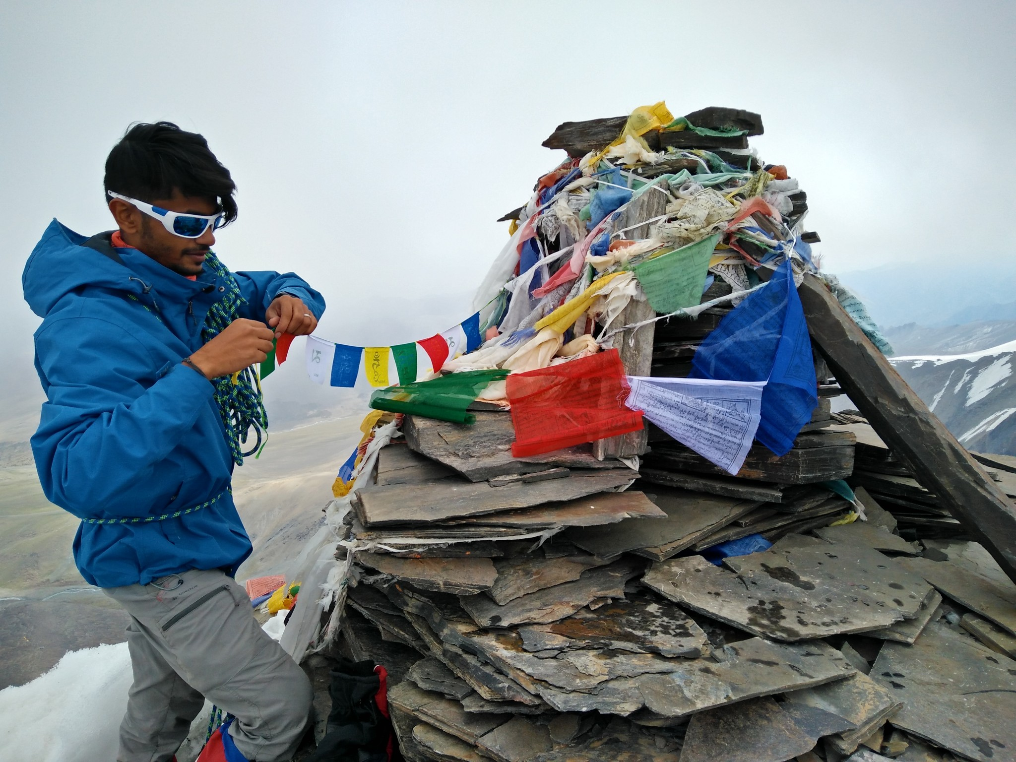 Much needed prayer flags at the summit from Jan and Me.