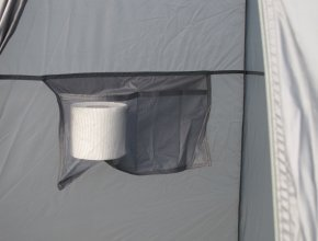 Issue paper inside toilet tent