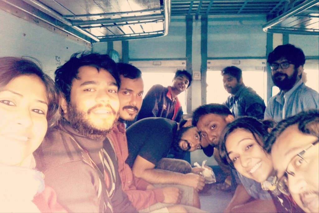 The group - On the way to Purbasthali from Sealdah