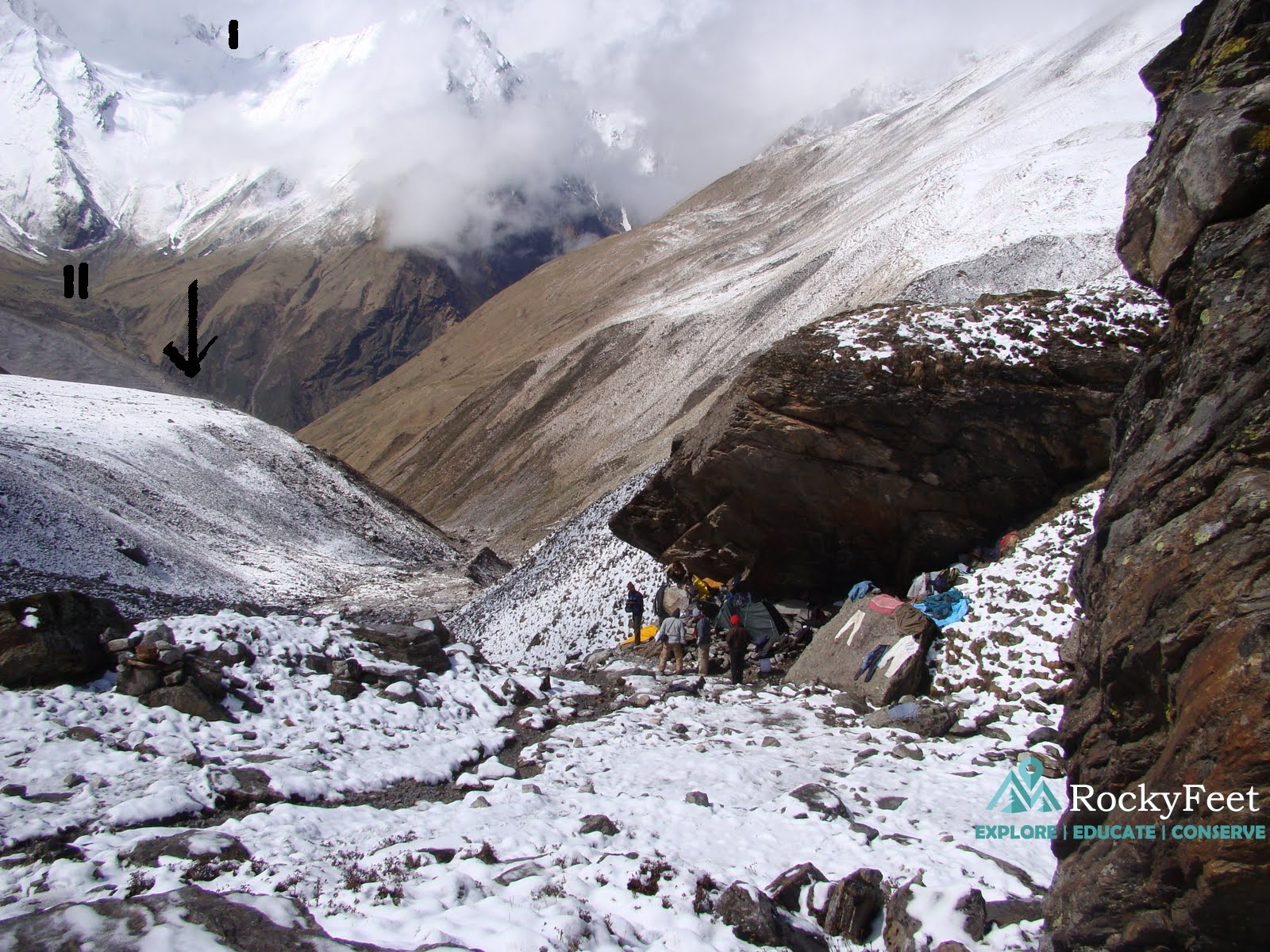 1) Junar gali col. 2) Shila-samudra meadow.  The down pointing arrow shows the location of the Shila-samudra glacier coming from left. Taken from dodang campsite, which as we can see is a rock shelter.