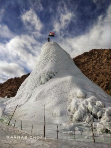 69th Republic day of Indian on top of ice stupa